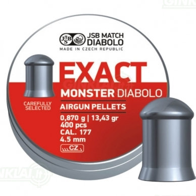 Kulkelės JSB Diabolo EXACT Monster 4,52 mm 400 vnt.