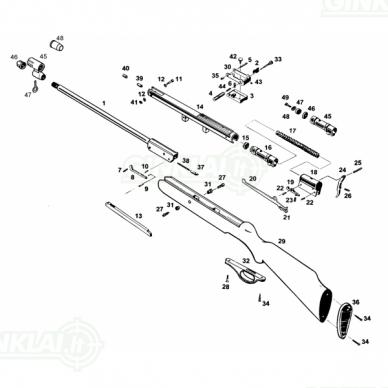 Pneumatinis šautuvas Baikal MP-512-22 4,5 mm su plastikine buože 12