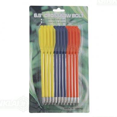 Strėlytės arbaletui plastikinės MK-AL6.5 įvairiaspalvės Plastic bolts 12 vnt. 6,5 inch