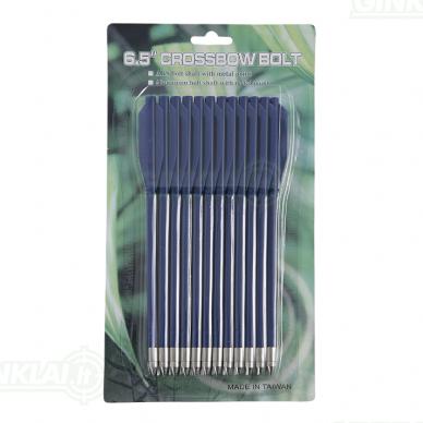 Strėlytės arbaletui plastikinės MK-AL6.5 mėlynos Plastic bolts 12 vnt. 6,5 inch